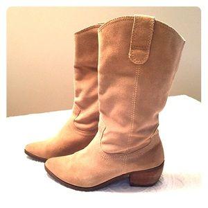 Matisse Beige Soft Suede Boots with Heel